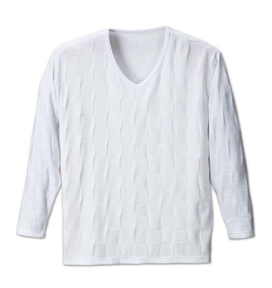 大きいサイズ メンズ Beno ブロック ジャガード 長袖 Vネック Tシャツ 長袖Tシャツ ホワイト 1158-6390-1 3L 4L 5L 6L 8L
