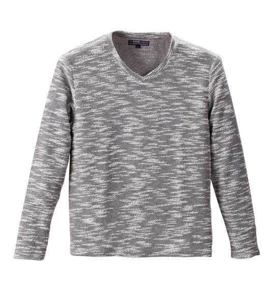 大きいサイズ メンズ Beno カット ツイード 長袖 Vネック Tシャツ 長袖Tシャツ グレー 1158-6391-1 3L 4L 5L 6L 8L