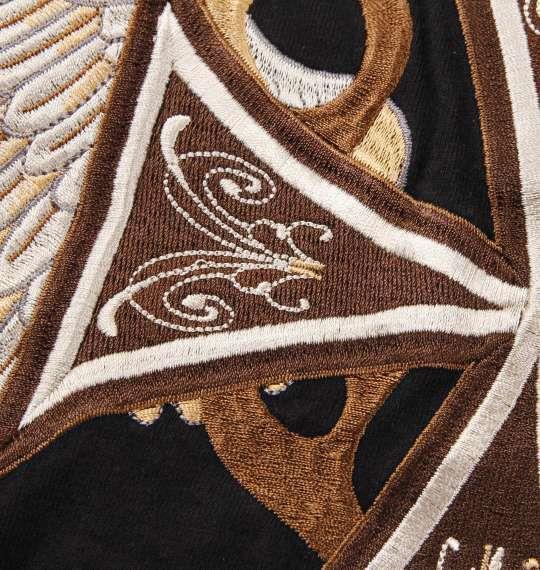 大きいサイズ メンズ FLAGSTAFF IRONCROSS WING 刺繍 長袖 Tシャツ 長袖Tシャツ ブラック 1158-6610-1 3L 4L 5L 6L 8L