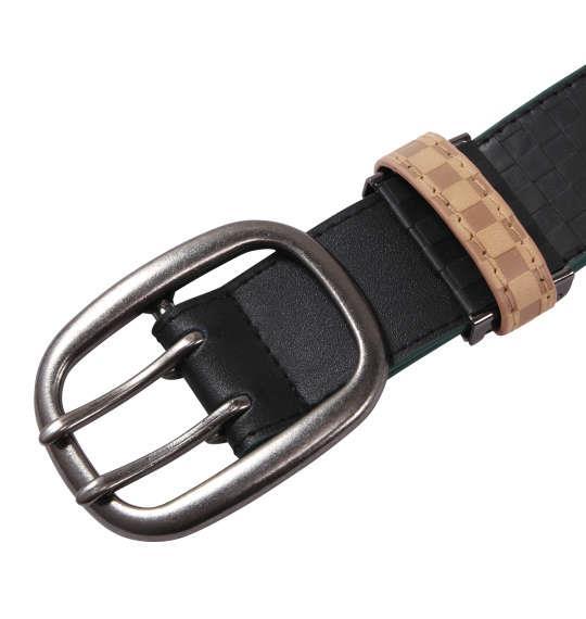 大きいサイズ メンズ OUTDOOR ブロック チェック ストレッチ ベルト ブラック 1160-6320-2 4L