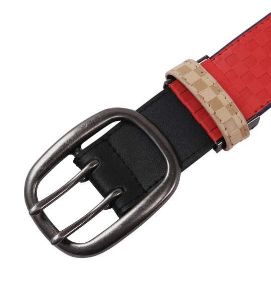 大きいサイズ メンズ OUTDOOR ブロック チェック ストレッチ ベルト レッド 1160-6320-3 4L