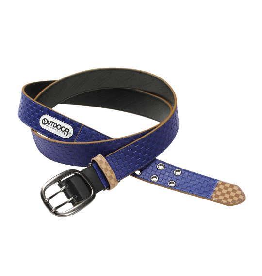 大きいサイズ メンズ OUTDOOR ブロック チェック ストレッチ ベルト ブルー 1160-6320-4 4L