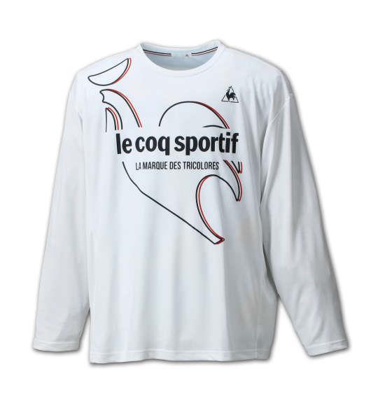 大きいサイズ メンズ LE COQ SPORTIF 長袖Tシャツ ホワイト 1178-6350-1 3L 4L 5L 6L