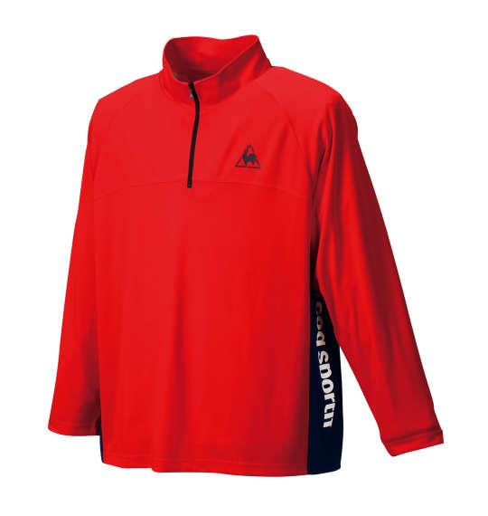 大きいサイズ メンズ LE COQ SPORTIF ハーフジップ長袖シャツ レッド 1178-6351-1 3L 4L 5L 6L