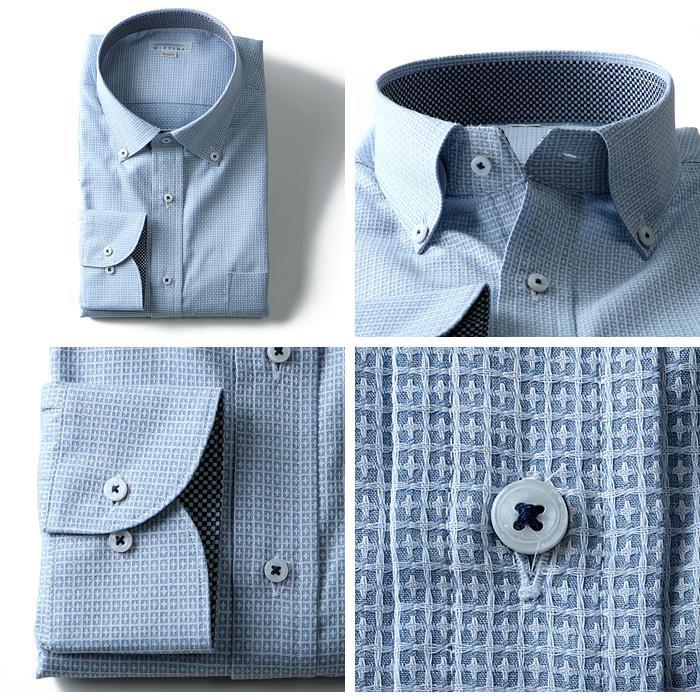 2点目半額 大きいサイズ メンズ DISFIDA 長袖 Yシャツ ビジネス 長袖 ワイシャツ ワイドボタンダウンシャツ シングル 46716