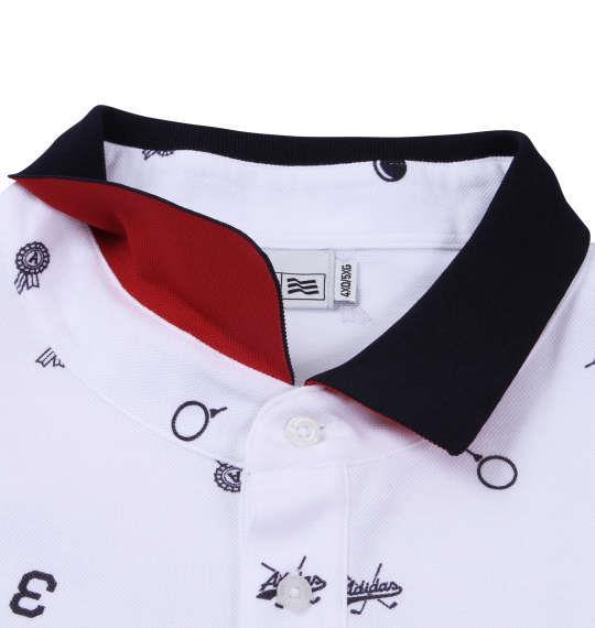 大きいサイズ メンズ adidas golf モノグラム長袖ポロシャツ ホワイト 1178-6360-1 4XO 5XO 6XO 7XO