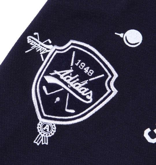 大きいサイズ メンズ adidas golf モノグラム長袖ポロシャツ ネイビー 1178-6360-2 4XO 5XO 6XO 7XO