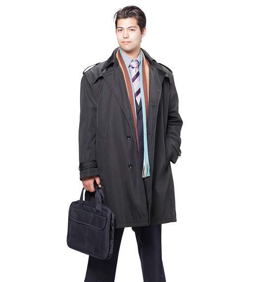 大きいサイズ メンズ MICHIKO LONDON KOSHINO ライナー付 トレンチコート アウター コート ブラック 1151-6320-1 3L 4L 5L 6L
