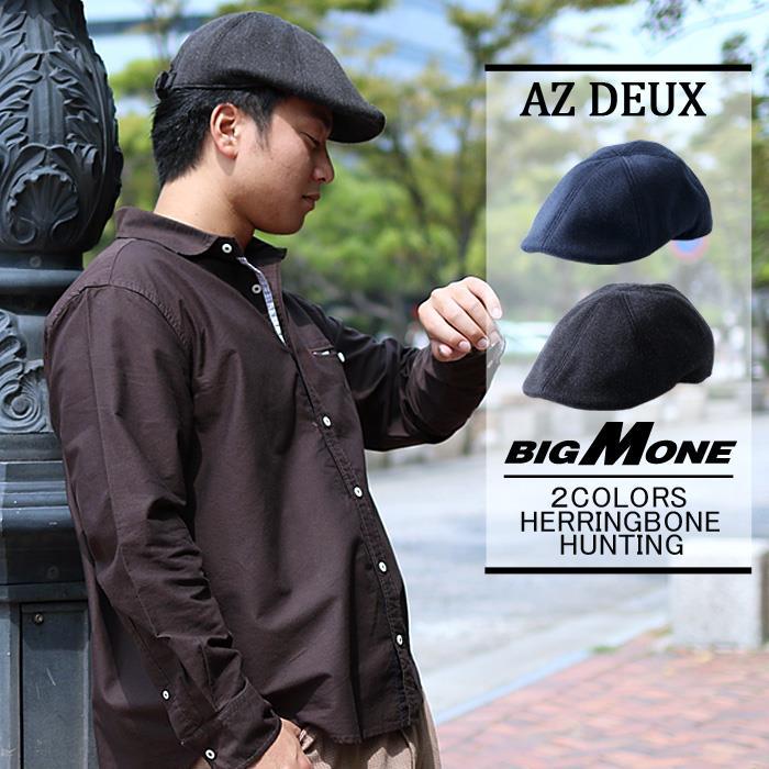 大きいサイズ メンズ AZ DEUX ヘリンボーンハンチング 帽子 714-160602