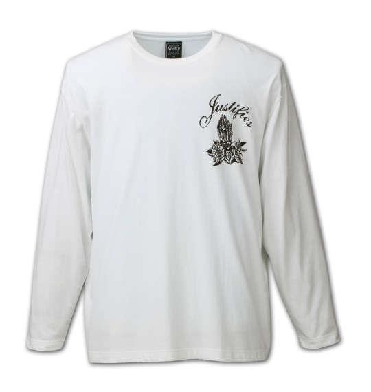 大きいサイズ メンズ SHELTY RUDE 刺繍 長袖 Tシャツ 長袖Tシャツ ホワイト 1158-6344-1 3L 4L 5L 6L