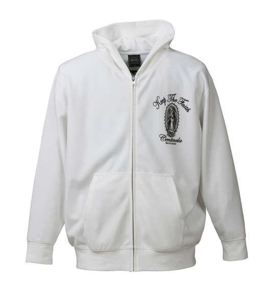 大きいサイズ メンズ SHELTY RUDE 刺繍 ポンチ フルジップパーカー 長袖 パーカー ホワイト 1158-6345-1 3L 4L 5L 6L