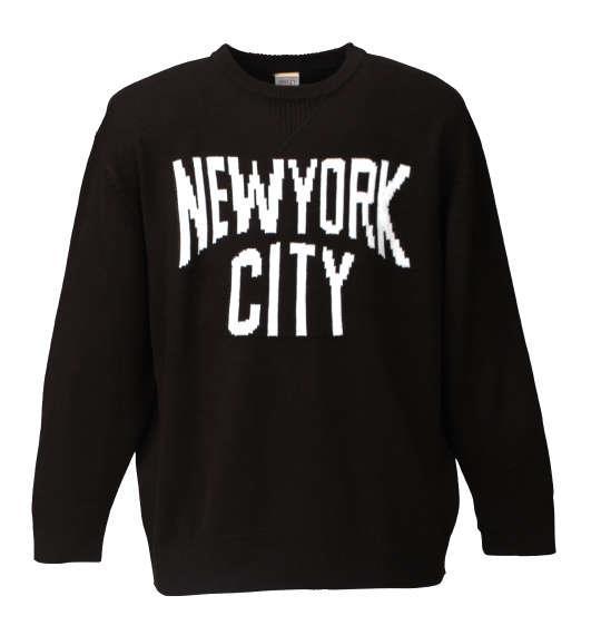 大きいサイズ メンズ SHELTY NYC クルーネック セーター 長袖 ニット ブラック 1158-6346-2 3L 4L 5L 6L
