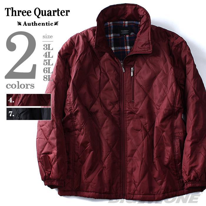 大きいサイズ メンズ Three Quarter (スリークォター) 裏プリントフリーススタンドブルゾン az-008