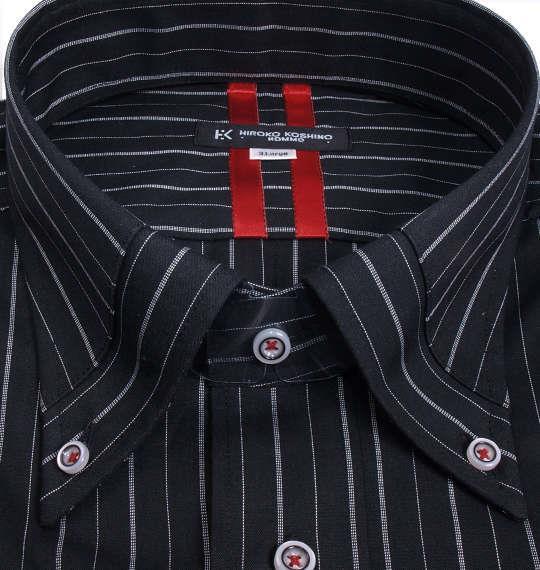 大きいサイズ メンズ HIROKO KOSHINO HOMME マイターB.D長袖シャツ ブラック 1177-7153-1 3L 4L 5L 6L 7L 8L