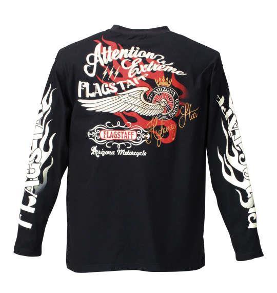 大きいサイズ メンズ FLAGSTAFF WING 刺繍 長袖 Tシャツ 長袖Tシャツ ブラック 1158-7141-1 3L 4L 5L 6L 8L