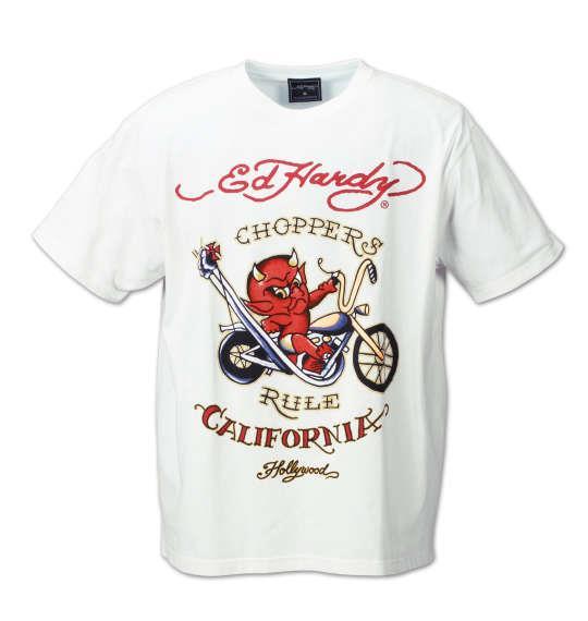大きいサイズ メンズ Ed Hardy 半袖Tシャツ オフホワイト 1178-7120-1 3L 4L 5L 6L 8L