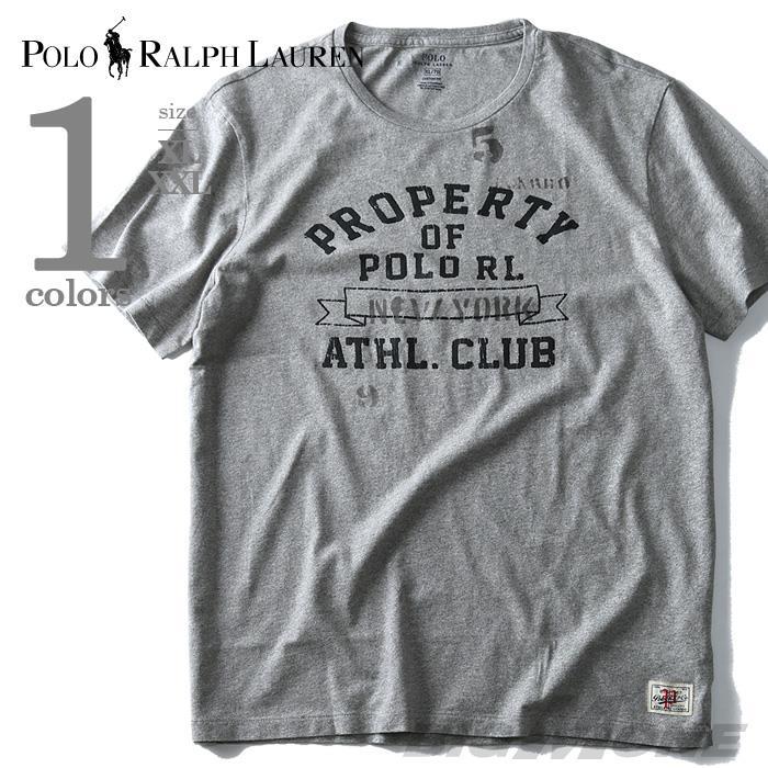 大きいサイズ メンズ POLO RALPH LAUREN ポロ ラルフローレン 半袖 Tシャツ プリント 半袖Tシャツ ATHL.CLUB USA グレー XL XXL 直輸入 710620117002