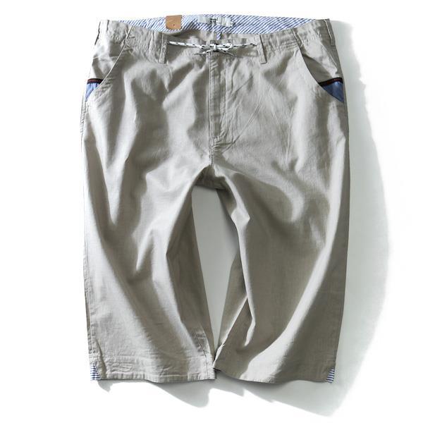 大きいサイズ メンズ DANIEL DODD ボトムス パンツ 麻混 スピンドル使い 7分丈 ショートパンツ ズボン azsp-1409