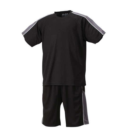 大きいサイズ メンズ Mc.S.P 吸汗速乾 半袖Tシャツ + ハーフパンツ 上下セット セットアップ 半袖 Tシャツ パンツ 短パン ボトムス ズボン ブラック × チャコール 1156-7210-3 3L 4L 5L 6L 8L