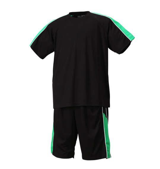 大きいサイズ メンズ Mc.S.P 吸汗速乾 半袖Tシャツ + ハーフパンツ 上下セット セットアップ 半袖 Tシャツ パンツ 短パン ボトムス ズボン ブラック × グリーン 1156-7210-4 3L 4L 5L 6L 8L