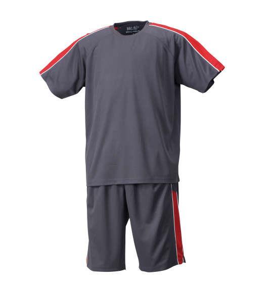大きいサイズ メンズ Mc.S.P 吸汗速乾 半袖Tシャツ + ハーフパンツ 上下セット セットアップ 半袖 Tシャツ パンツ 短パン ボトムス ズボン チャコール × レッド 1156-7210-6 3L 4L 5L 6L 8L