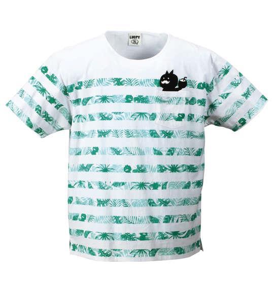 大きいサイズ メンズ LUCPY ボタニカル ボーダー 半袖 Tシャツ 半袖Tシャツ グリーン 1158-7202-2 3L 4L 5L 6L