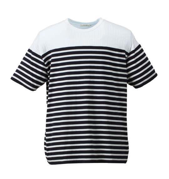 大きいサイズ メンズ Timely Warning リンクス 切替 ボーダー 半袖 Tシャツ 半袖Tシャツ ネイビー × ホワイト 1158-7231-1 3L 4L 5L 6L