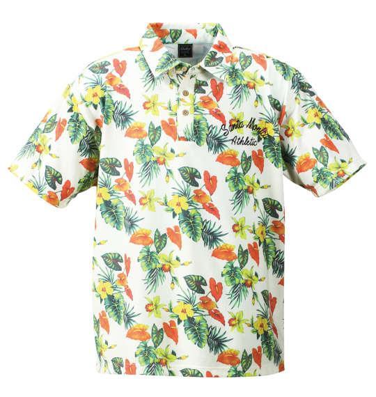 大きいサイズ メンズ SHELTY ボタニカル プリント 半袖 ポロシャツ オフホワイト 1158-7242-1 3L 4L 5L 6L 8L