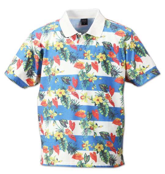 大きいサイズ メンズ SHELTY ボタニカル ボーダー 半袖 ポロシャツ ブルー 1158-7243-2 3L 4L 5L 6L 8L