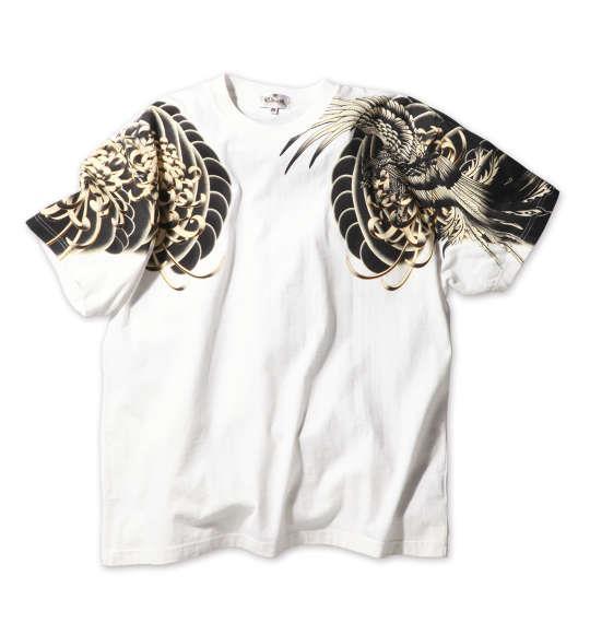 大きいサイズ メンズ 絡繰魂 鳳凰 刺青 半袖 Tシャツ 半袖 Tシャツ ホワイト 1158-7500-1 3L 4L 5L 6L
