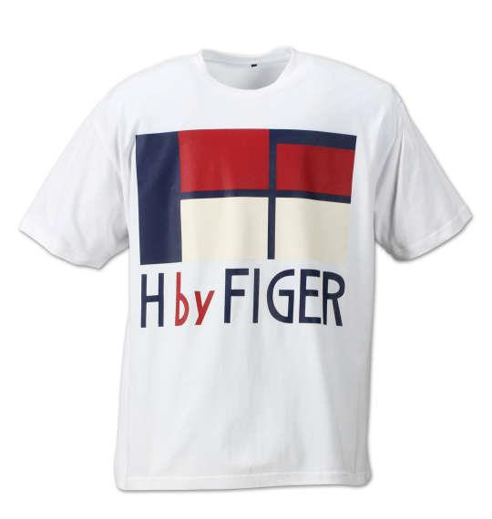 大きいサイズ メンズ H by FIGER 半袖 Tシャツ 半袖Tシャツ ホワイト 1168-7270-1 3L 4L 5L 6L 8L