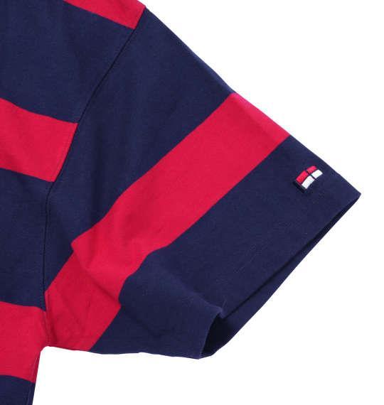 大きいサイズ メンズ H by FIGER ボーダー 半袖 ラガーシャツ ネイビー 1168-7274-1 3L 4L 5L 6L 8L