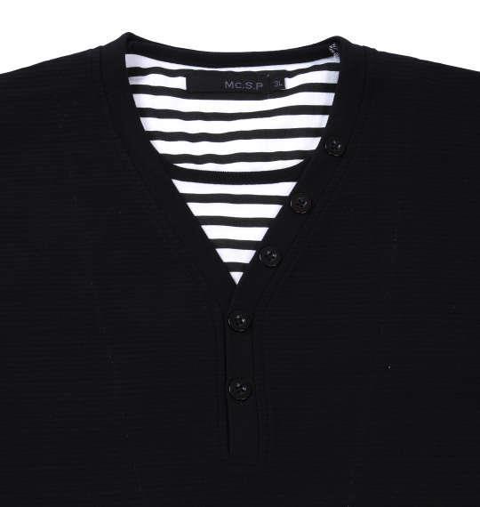 大きいサイズ メンズ Mc.S.P フェイク レイヤード Yネック ヘンリー 半袖 Tシャツ 半袖Tシャツ ブラック 1158-7540-2 3L 4L 5L 6L 8L 10L