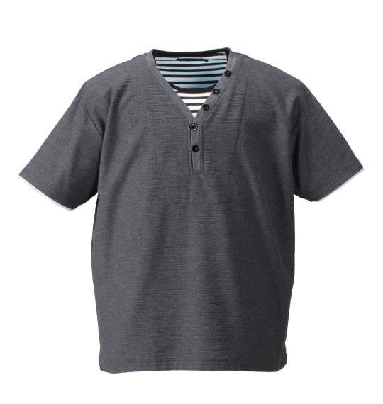 大きいサイズ メンズ Mc.S.P  フェイク レイヤード Yネック ヘンリー 半袖 Tシャツ 半袖Tシャツ チャコール 1158-7540-3 3L 4L 5L 6L 8L 10L