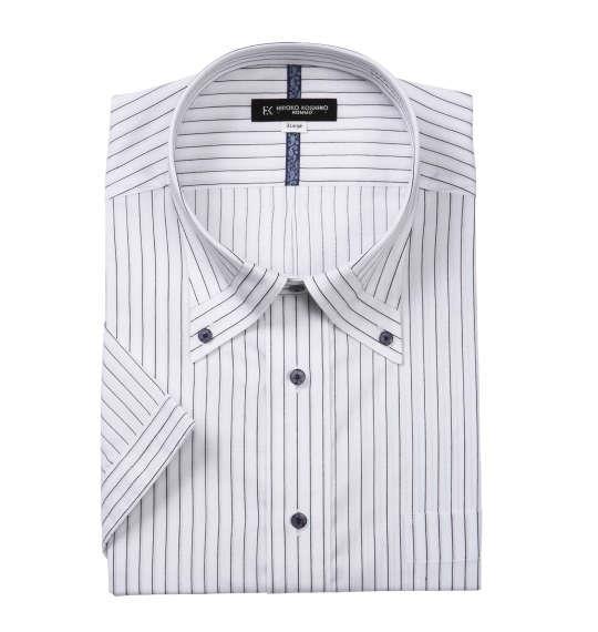 大きいサイズ メンズ HIROKO KOSHINO HOMME マイターB.D半袖シャツ ホワイト × ブラック 1177-7214-1 3L 4L 5L 6L 7L 8L 9L