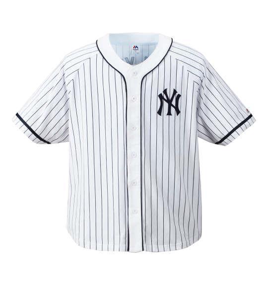 大きいサイズ メンズ Majestic ピンストライプベースボールシャツ ホワイト 1178-7516-1 3L 4L 5L 6L
