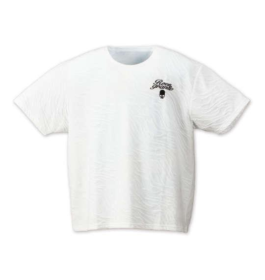 大きいサイズ メンズ Roen grande 斜め膨れジャガード半袖Tシャツ ホワイト 1178-7536-1 3L 4L 5L 6L