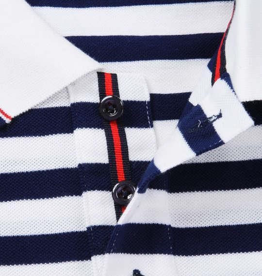 大きいサイズ メンズ Beno 刺繍 + ワッペン 半袖 ポロシャツ オフホワイト × ネイビー 1158-7594-1 3L 4L 5L 6L