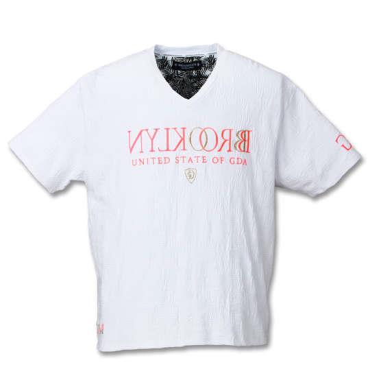 大きいサイズ メンズ GLADIATE リーフ柄 リンクス ジャガード 半袖 Vネック Tシャツ 半袖Tシャツ ホワイト 1158-7571-1 3L 4L 5L 6L 8L