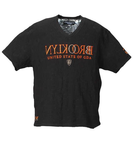 大きいサイズ メンズ GLADIATE リーフ柄 リンクス ジャガード 半袖 Vネック Tシャツ 半袖Tシャツ ブラック 1158-7571-2 3L 4L 5L 6L 8L