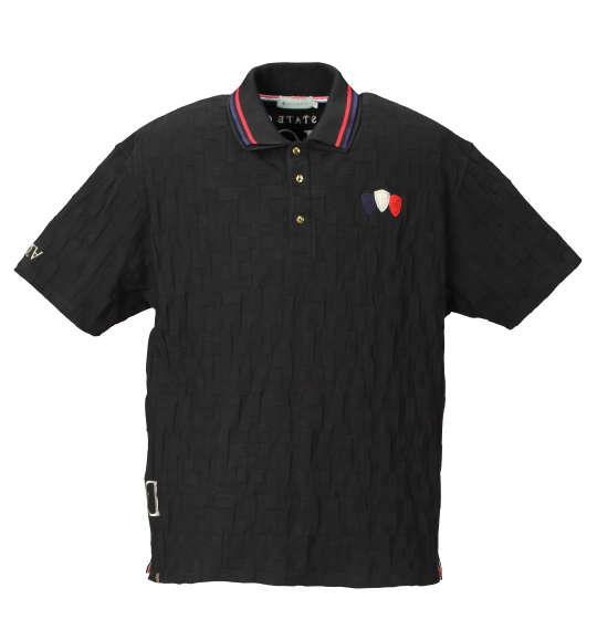 大きいサイズ メンズ GLADIATE ブロック リンクス ジャガード 半袖 ポロシャツ ブラック 1158-7572-2 3L 4L 5L 6L