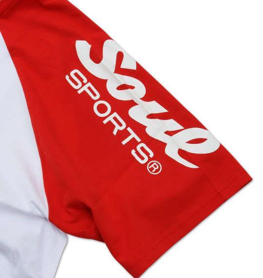 大きいサイズ メンズ SOUL SPORTS ラグラン 半袖 Tシャツ 半袖Tシャツ ホワイト × レッド 1168-7255-1 3L 4L 5L 6L 8L