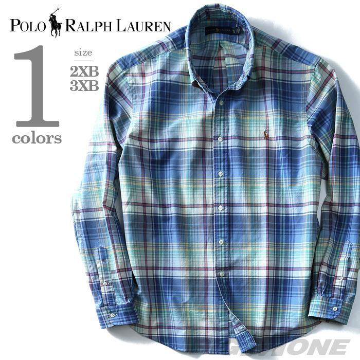 大きいサイズ メンズ POLO RALPH LAUREN ポロ ラルフローレン 長袖 シャツ チェック柄 ボタンダウンシャツ 長袖シャツ カジュアルシャツ ブルー  2XB 3XB USA直輸入 711664831001