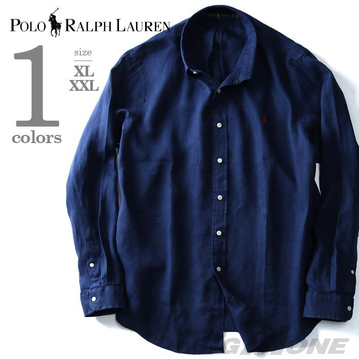 大きいサイズ メンズ POLO RALPH LAUREN (ポロ ラルフローレン) 長袖リネン無地ボタンダウンシャツ ネイビー XL XXL USA 直輸入 710607530002