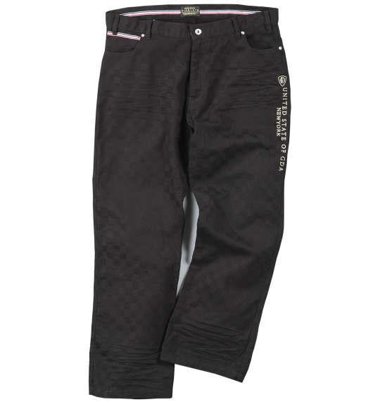 大きいサイズ メンズ GLADIATE ブロック ジャガード刺繍 パンツ ズボン ボトムス ブラック 1154-7340-1 100 110 120 130 140