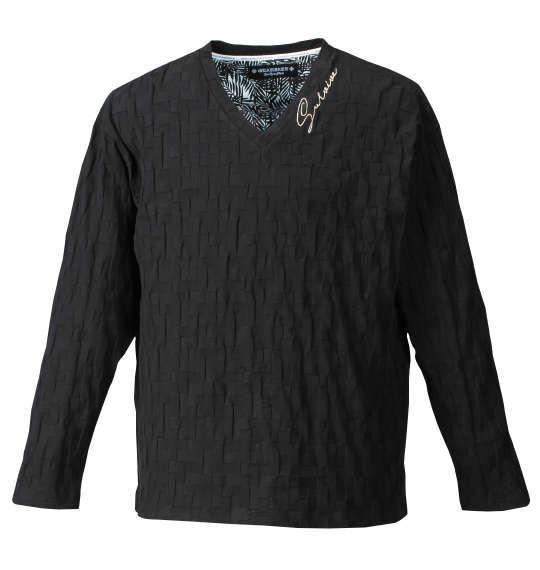 大きいサイズ メンズ GLADIATE リンクス ジャガード 刺繍 長袖 Vネック Tシャツ 長袖Tシャツ ブラック 1158-7385-1 3L 4L 5L 6L