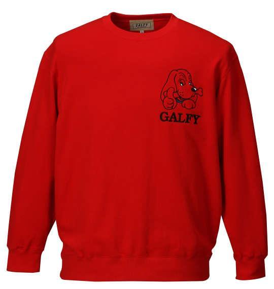 大きいサイズ メンズ GALFY アップリケ 刺繍 クルーネック トレーナー レッド 1158-7610-1 3L 4L 5L 6L