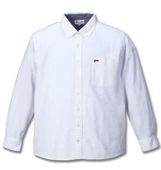 大きいサイズ メンズ H by FIGER オックス 長袖 シャツ ボタンダウンシャツ 長袖シャツ ホワイト 1167-7320-1 3L 4L 5L 6L 8L