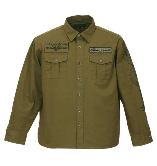 大きいサイズ メンズ Roen grande ミリタリープリント&ラインストーン長袖シャツ カーキ 1177-7330-1 3L 4L 5L 6L