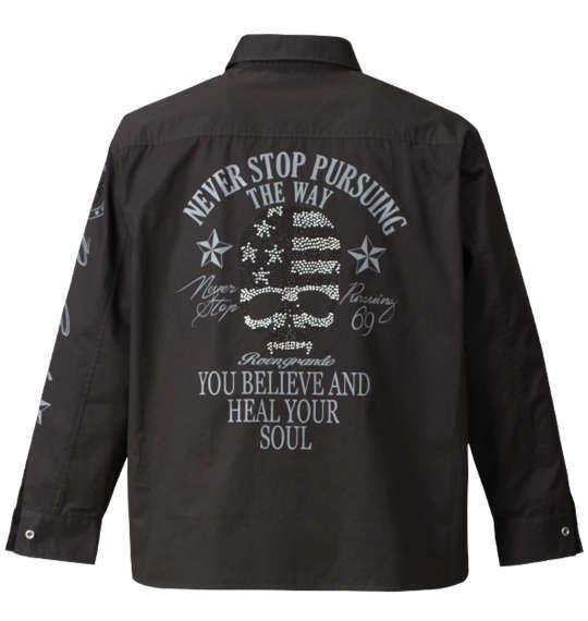 大きいサイズ メンズ Roen grande ミリタリープリント&ラインストーン長袖シャツ ブラック 1177-7330-2 3L 4L 5L 6L